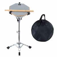 "Practice Pad Percussion Set Double Sides Buddle with Stand Sticks Bag Grey 12"" Silent Snare Drum"