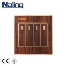 Naling 250V 10A 86*88mm Wooden Color Electric 4 Gang Light Wall Switch