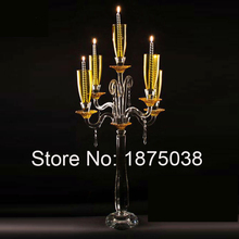luxury hurricance crystal candleholder 5 arms, crystal candelabra in china