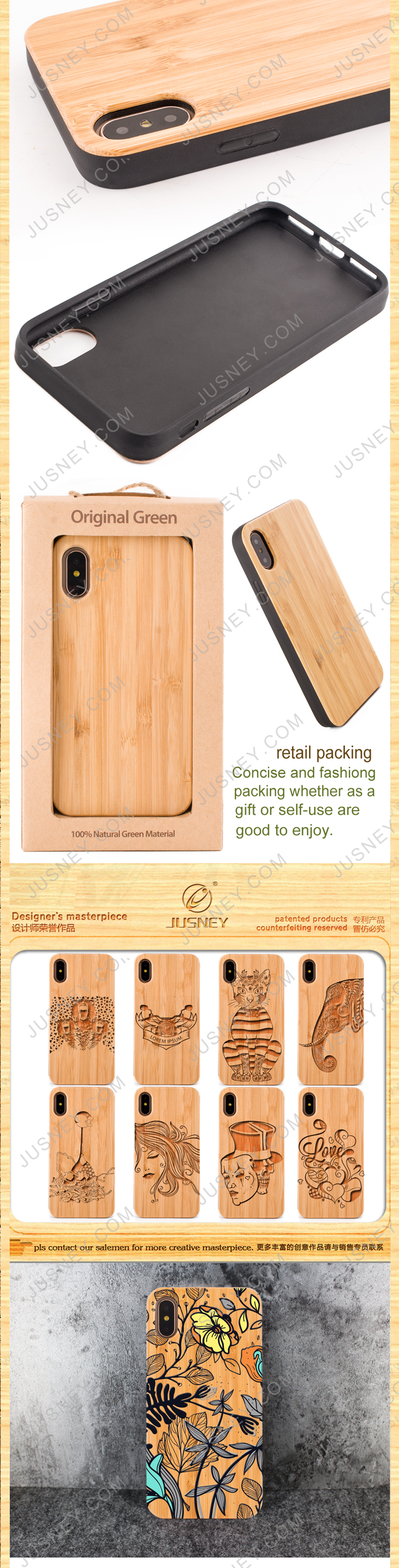 Eco-friendly wooden Innovative Mobile Phone Accessories ,Custom wood cell phone case for iphone X