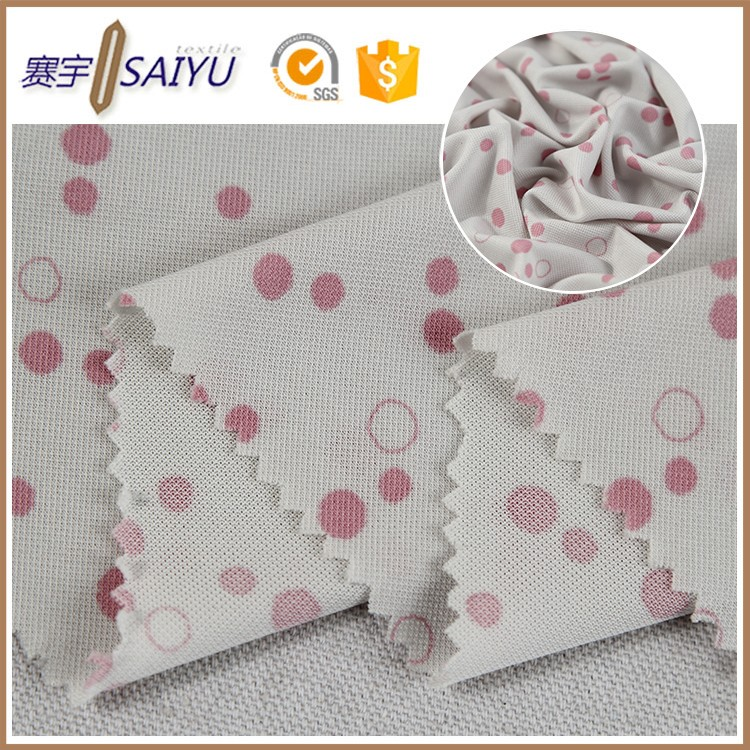 wholesale polyester cheap custom round dot printed mesh fabric for sportwear