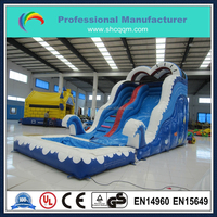 26ft long industrial inflatable water slide with pool for kids and adults