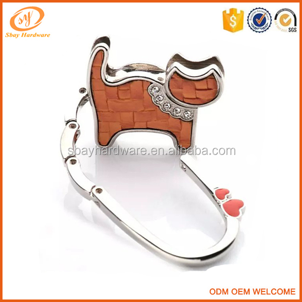 Fashion cat shape purse hook/bag hanger hook/folding purse hanger