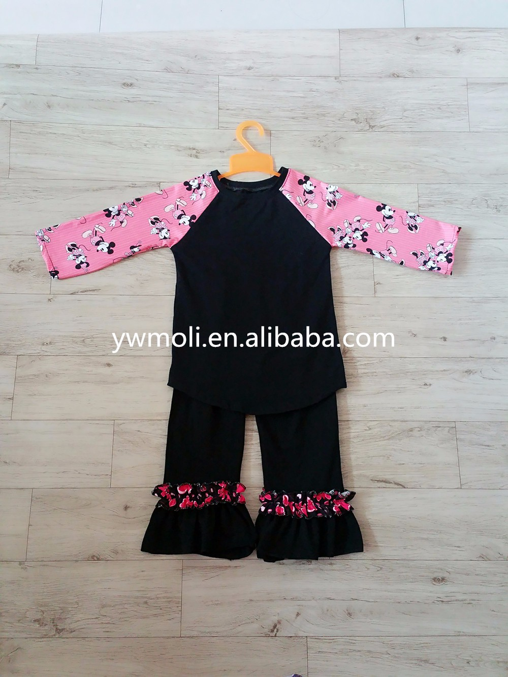 moli new designs fall children girls outfit 100 % cotton girls clothes sport top and pants ruffle outfit for kids