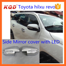 car chrome accessories for toyota hilux revo Side mirror cover with LED door mirror cover for 2016 hilux toyota revo chromed kit