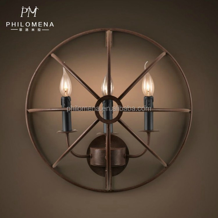 Industrial Edison Vintage Style 1-Light iron circle wall lamp