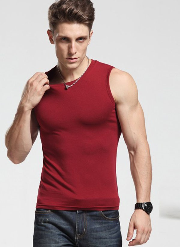 2015 hot sell new design and cheap mens open side tank top