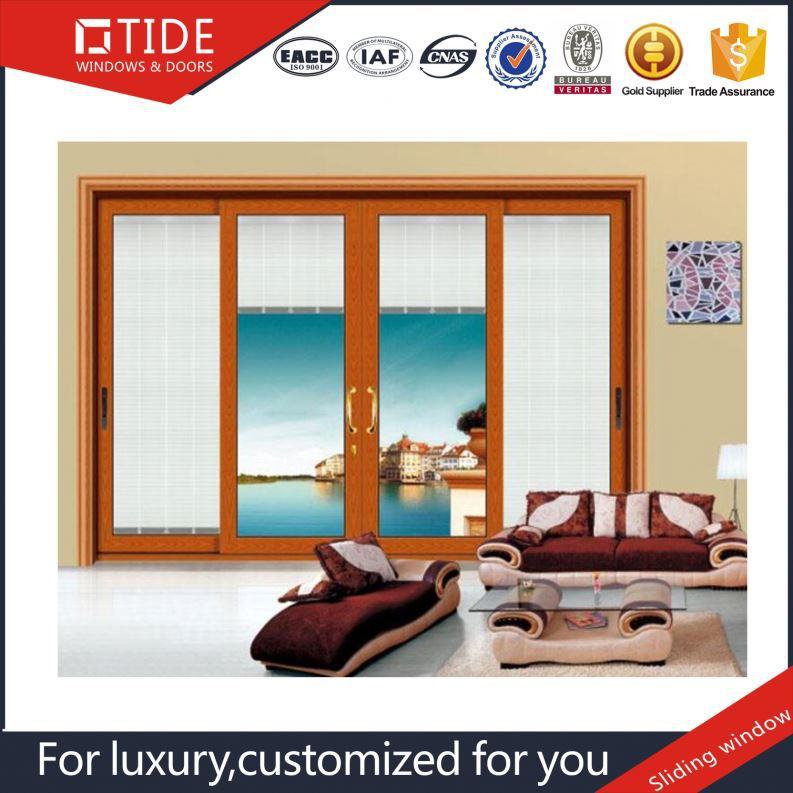 German hardware aluminum wood frame aluminum anti-wind pressure sliding glass windows