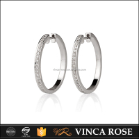 women huggie large hoop earring pave white zircon 925 sterling silver jewelry
