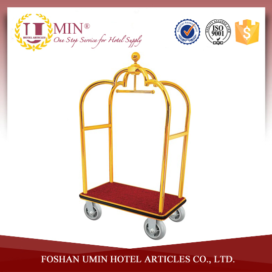 Gold Hotel Luggage Cart Wheels