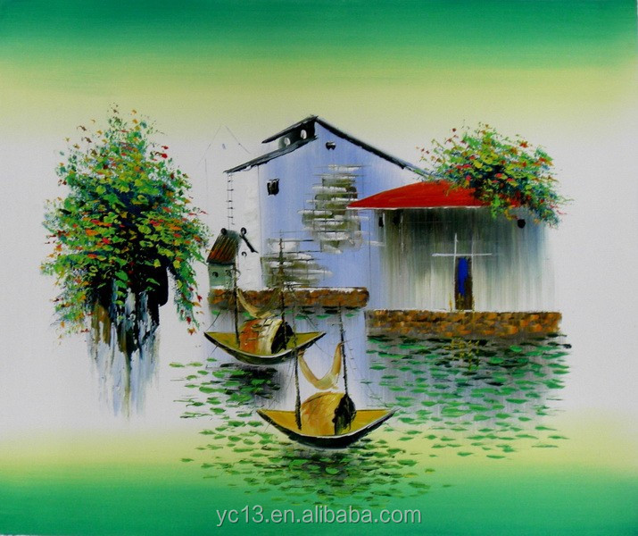 Various Chinese natureral scenery Decorative Modern Art Porcelain Oil Paintings