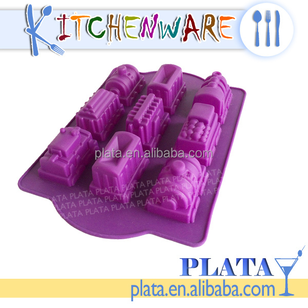 "13""x9"", 9 Cup Silicone Train Cake Pan"