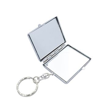 High grade lady gift portable hand held traveling pocket makeup mirror square compact mirror with keyring