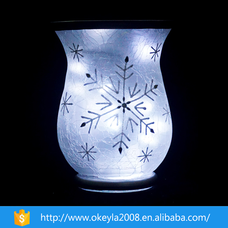 christmas home goods decorative crackle glass vase with snowflake decal