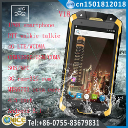 IP68 smartphone V18 4.5 inch walkie talkie phone support NFC SOS 4G lte nework 3G ram 32G rom octa core IP68 mobile phone