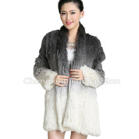 CX-G-A-56C Genuine Rabbit Fur Fancy Beautiful Women Fur Winter Clothes Fur Coat
