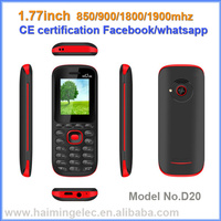 High quality cheap Dual Sim Low End Mobile Phone 1.77 inch with CE certification whatsapp facebook model D20