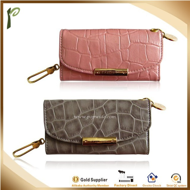 Popwide Unisex Key Chain Wallet Leather Pouch Cover Holder Bag