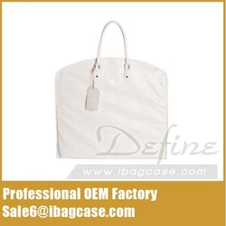 Premium White Leather Garment Bag for Suits Foldable