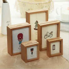 Wooden kids money box photo frame