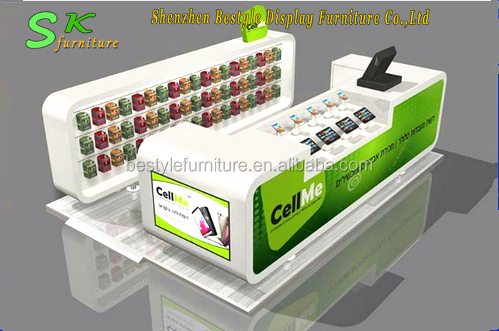 Cheap and fine cell phone repair kiosk used in mall with mobile phone display counter