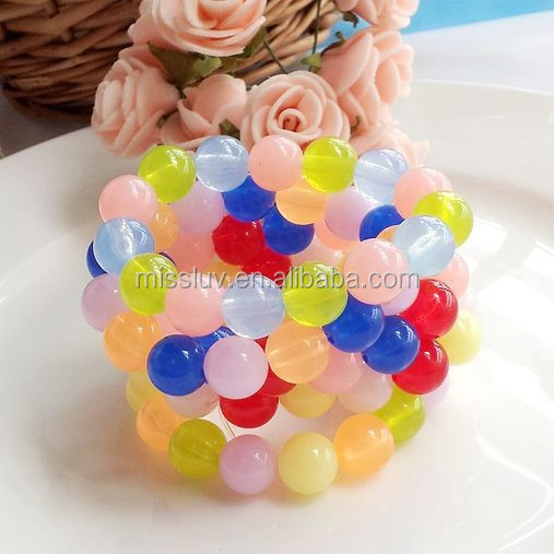 little girl's rainbow jelly bead bracelet kids rainbow frozen bead bracelet children's day color beads bracelet jewelry