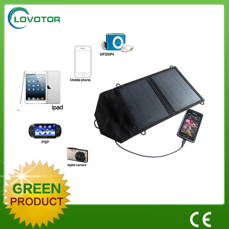 7W dual usb port solar mobile charger for outdoor