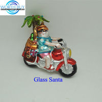 Christmas Santa claus riding a motorcycle Christmas glass ornament wholesale