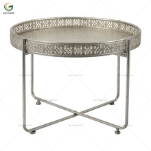 Small Round Electroplate Vintage Silver Metal Iron Side Table