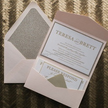 blush and gold glitter with letterpress pocket folder wedding invitations cards