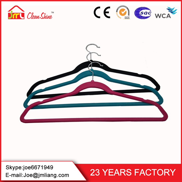 2016 Wholesales Clothes Hangers Colorful Velvet Flocked Clothes Hanger