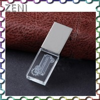 Custom laser Logo High speed 4G 8G 16G 32G crystal usb flash drive