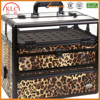 Custom-made Professional 45 Nail Polish Clear Panel Makeup Artist Organizer Cosmetic Case w/ Slide Out Drawer (Leopard)