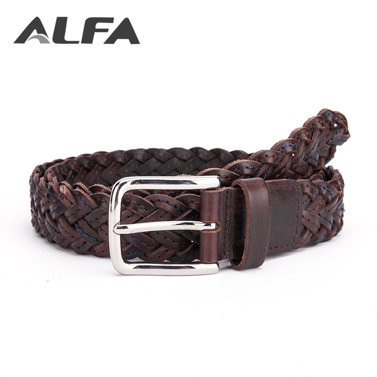 Alfa New Hot Products Fashion Decorative Men Genuine Cow Leather Braided Belt
