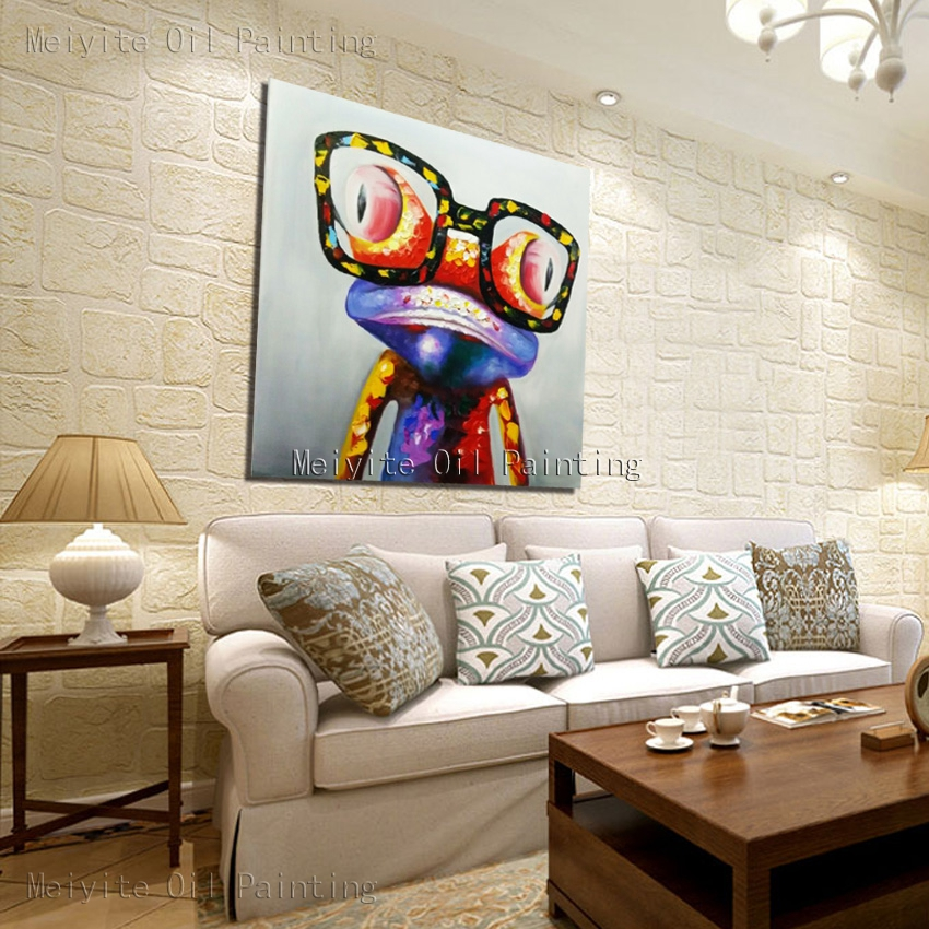 Happy frog wearing glasses frog animal china oil painting cavas art decorative painting canvas art animal oil painting