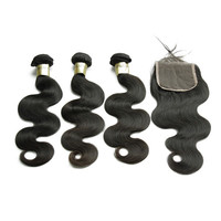Free Shipping Grade 8A Virgin Brazilian Human Hair Weft With Lace Closure
