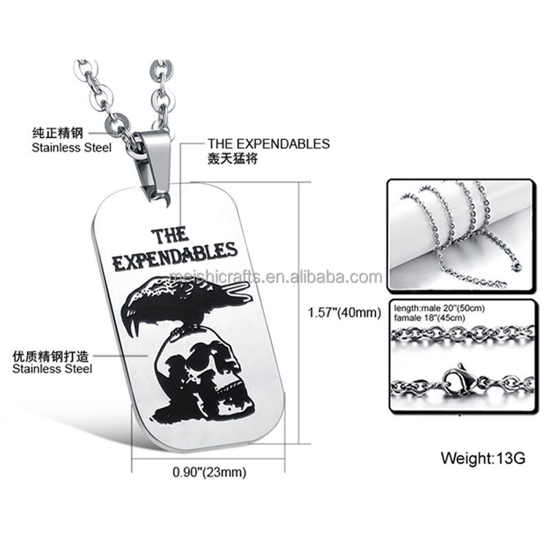 "TV ""THE EXPENDABLES "" Stainless Steel Army card Dog Tag Men's Pendant Necklace"