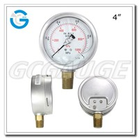 "High quality stainless steel 4"" wika type bourdon tube pressure gauge with en 837-1 design"