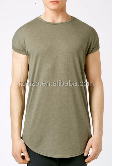 mens 100%cotton elongated scoop bottom t shirt