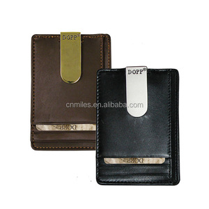 Slim and simple leather metal money clip minimalist wallet