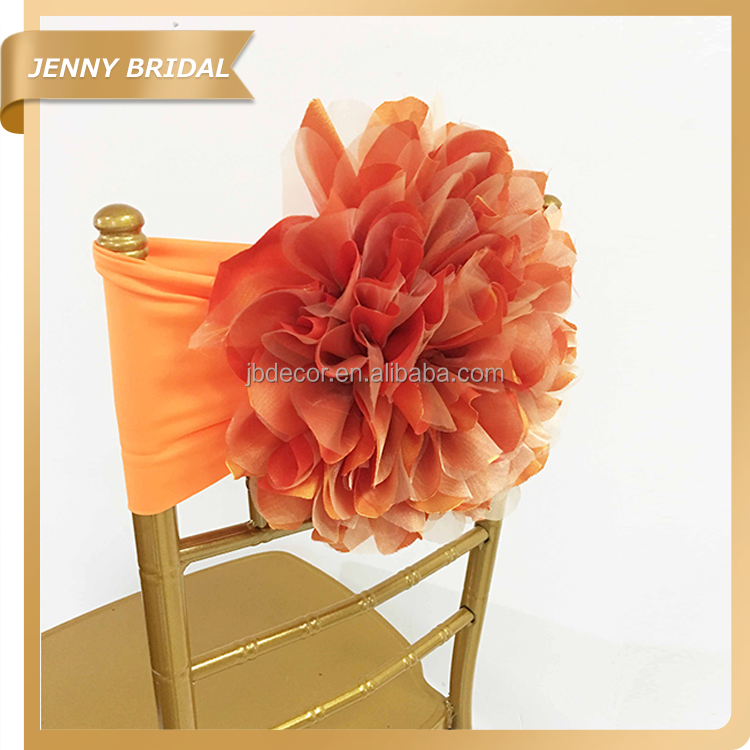 C418C flame orange flower garden organza chiavari chair cover for weddings