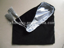 Custom design velvet outside satin inside gift bag with tassel
