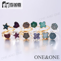 2015 Fancy Gemstone Ring Druzy Quartz Rings Natural Agate Drusy Ring Gold/Silver China Jewelry Wholesale