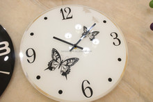 Butterfly Design Glass Wall Clock
