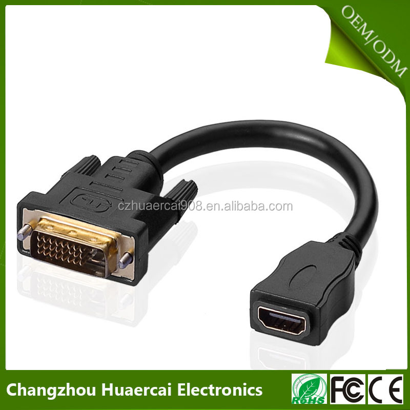Gold plated 19+1 Pin to DVI-D Video Cable Adapter - 19pins Female to DVI Male Cable