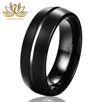 Tungsten Wedding Bands Black Tyre Brushed Ring Classic 8mm Size 4-14 Domed Grooved Centra