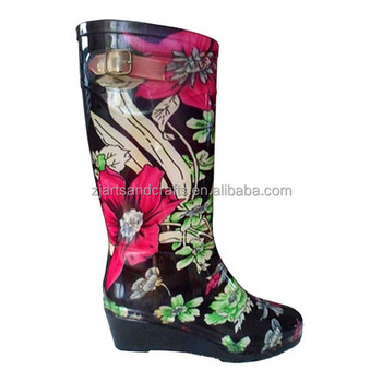 Fashion PVC high heel rain boot for women with different designs