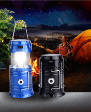 "Collapsible LED Camping Lantern, Solar Rechargeable Camping Light Flashlight with 2 ""S"" Hook, Portable Water resistant Outdoor S"