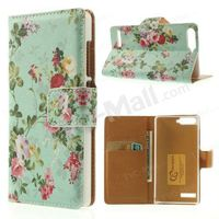 Vine & Flower Pattern Wallet Leather Stand Magnetic Cover for Huawei Ascend G6 4G