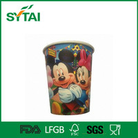 7.5oz disposable beautiful design cartoon characters colorful pe coated cups party paper cup for wholesale